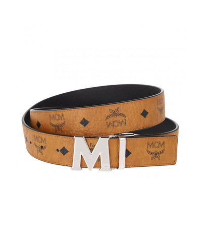 MCM Worldwide Claus Reversible Belt Cognac