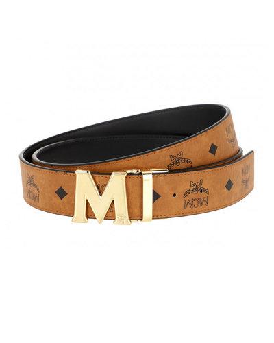 MCM Worldwide Claus Reversible Belt Cognac