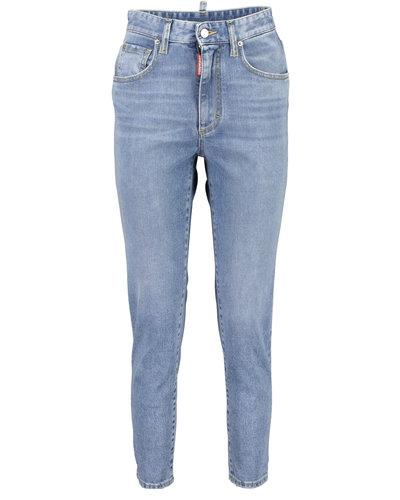 Dsquared2 High Waist Cropped Twiggy Jeans Blau
