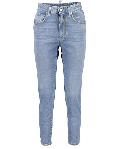 Dsquared2 High Waist Cropped Twiggy Jeans Blauw