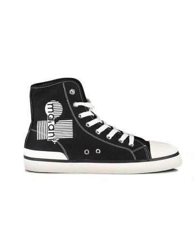 Isabel Marant Canvas Benkeenh  Logo Sneaker Black