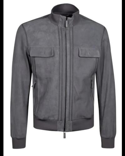 Armani Leather Jacket Grau