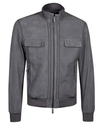 Armani Leather Jacket Grey