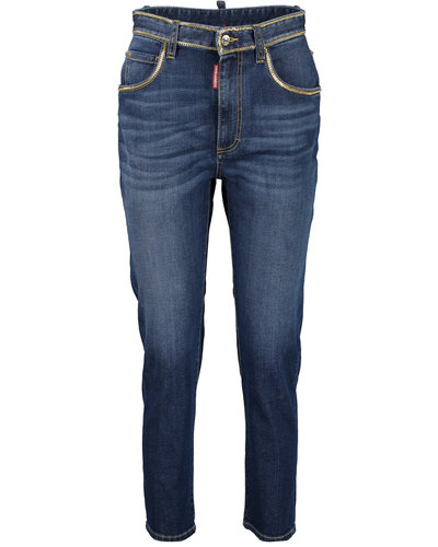 Dsquared2 Medium Waist Cropped Twiggy Jeans Blau