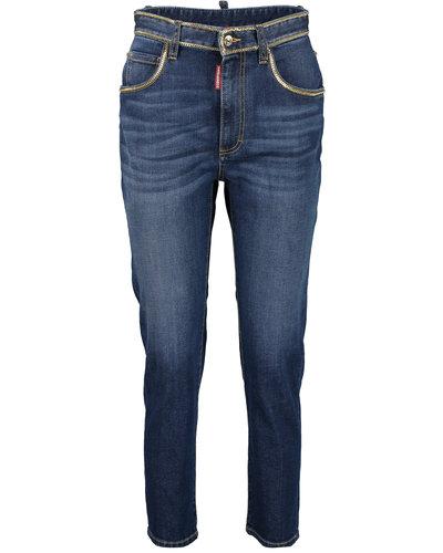 Dsquared2 Medium Waist Cropped Twiggy Jeans Blue