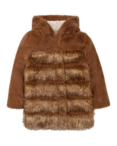 Chloé Kids Fake Fur Jacket Braun