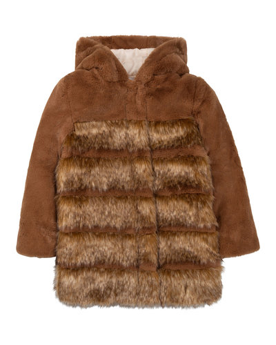 Chloé Kids Fake Fur Jacket Brown
