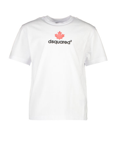 Dsquared2 Kids Relax Maple Leaf T-shirt Weiß