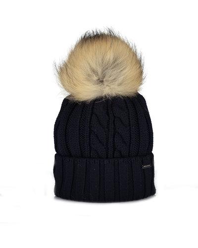 Woolrich Wool Raccoon Pompom Hat Blue
