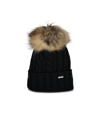 Woolrich Wool Raccoon Pompom Hat Schwarz