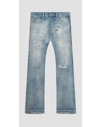 Flaneur Homme Distressed Straight Jeans Blauw