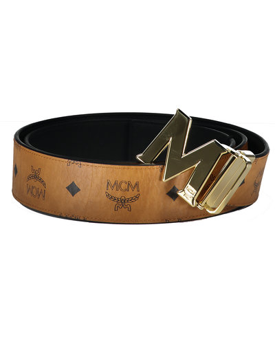 MCM Worldwide Claus Gold Belt Cognac