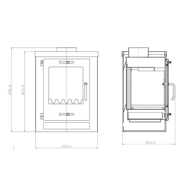 Cube vrijstaande houtkachel 5 kW