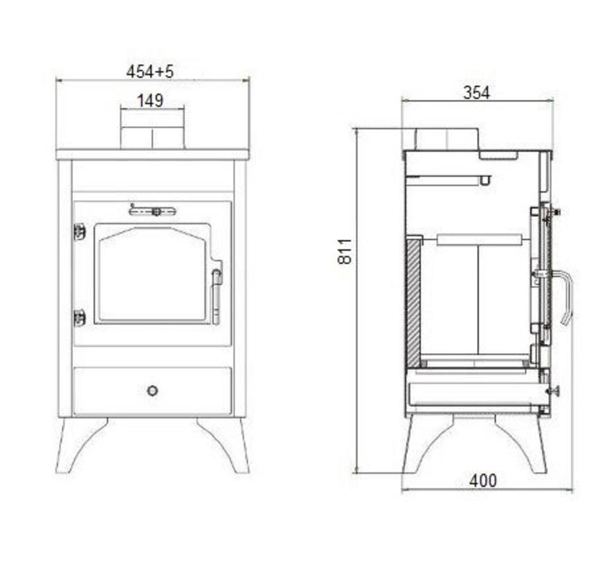 Ray vrijstaande houtkachel (9 kW)