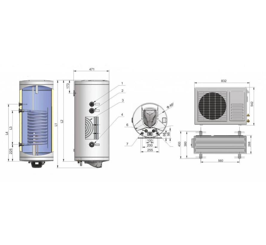 Lucht-water Warmtepompboiler 150 liter met extra warmtewisselaar, voor tapwater