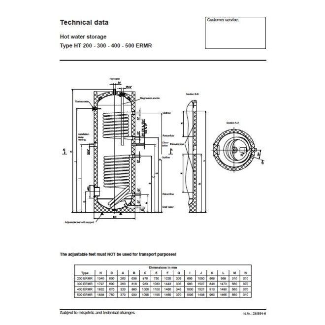 HT 400 ERMR, 400 liter buffervat