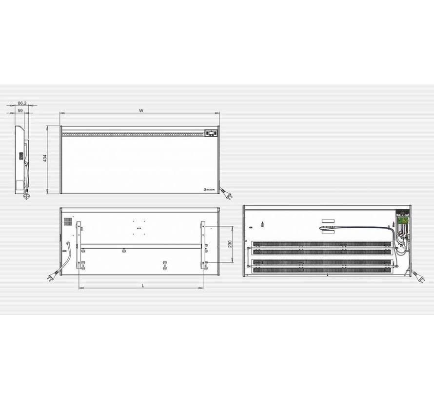 Eldom Extra Life 3,0 kW elektrische wandconvector met digitale bediening en thermostaat ErP