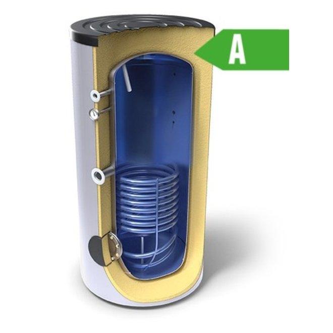 Buffertank 200 liter,  A label, met enkele warmtewisselaar