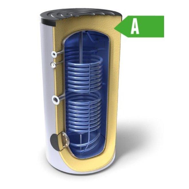 Buffertank 300 liter,  A label, met dubbele warmtewisselaar