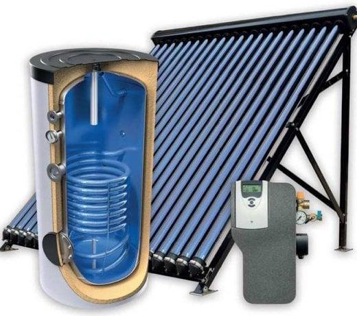 Zonneboilersets het produceren warmwater of verwarming