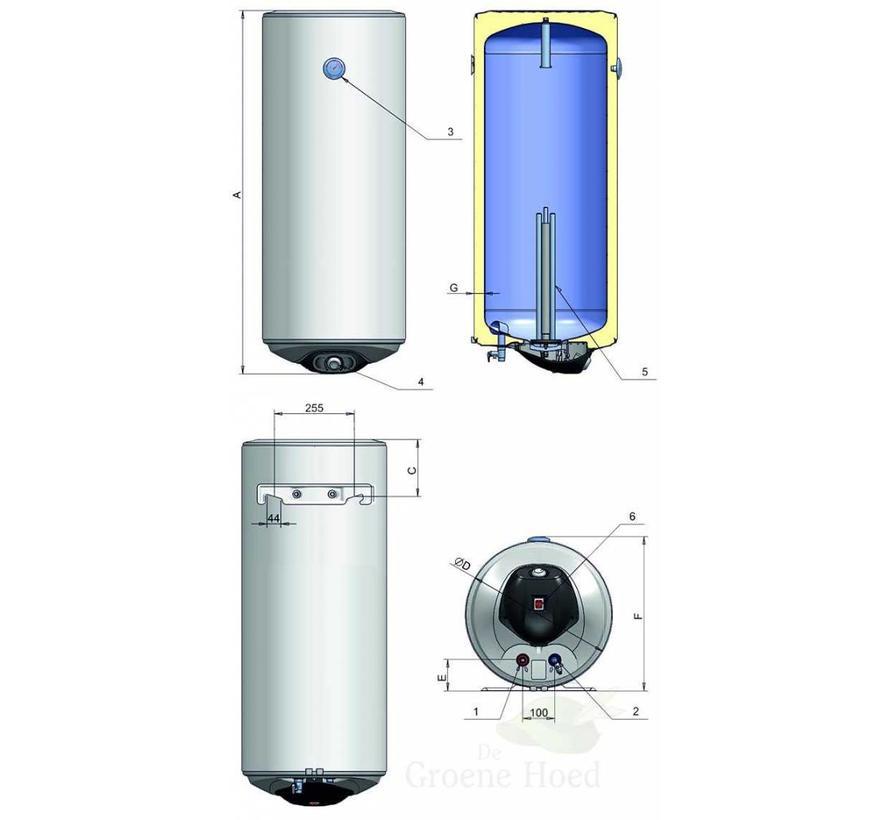 Elektrische campingboiler 50L, 2x 800 Watt