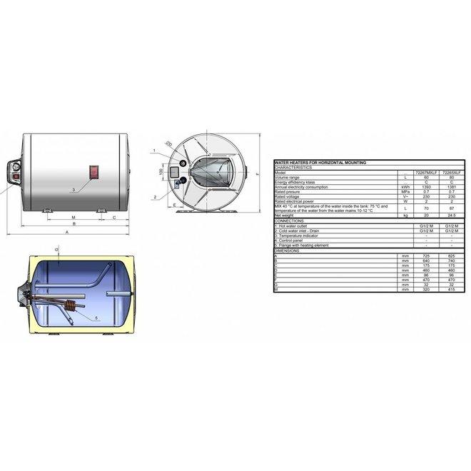Elektrische Boiler 60L, horizontaal, 2kW, voor plaatsing op de vloer