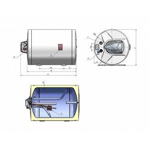 ELDOM Favourite Elektrische Boiler 60L, horizontaal, 2kW, emaille, staand model