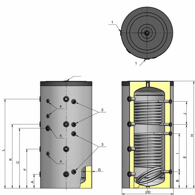 500 liter buffer met 2 warmtewisselaars, niet geëmailleerd