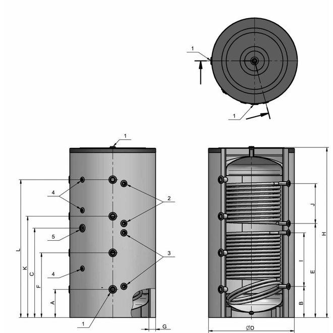 1500 liter buffervat met 2 warmtewisselaars , niet geëmailleerd
