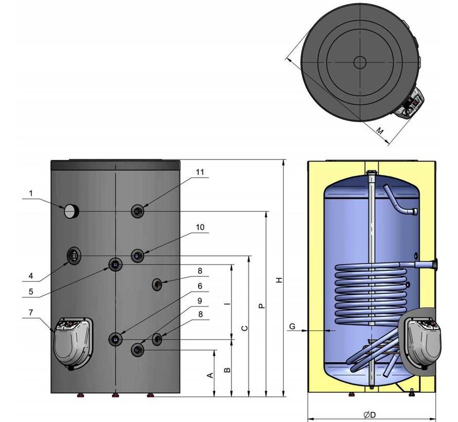 Staande 150 liter boiler met  warmtewisselaar en digitale bediening