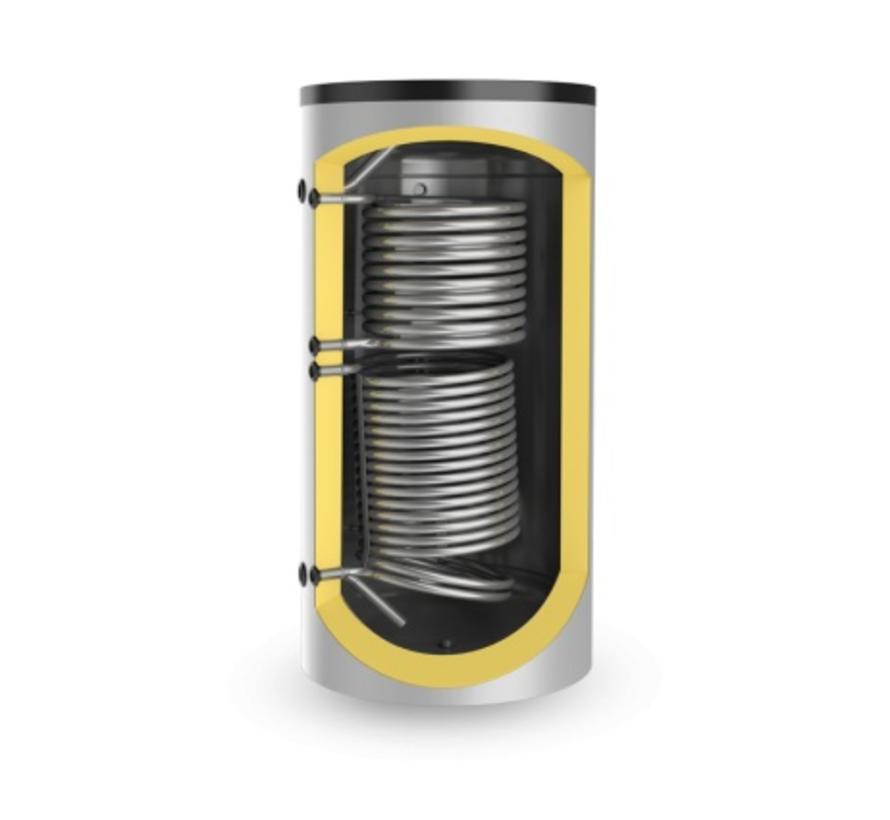 750 liter buffervat met 2 warmtewisselaars, niet geëmailleerd