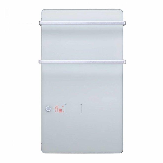 Glazen badkamer paneel convector met handdoekbeugel