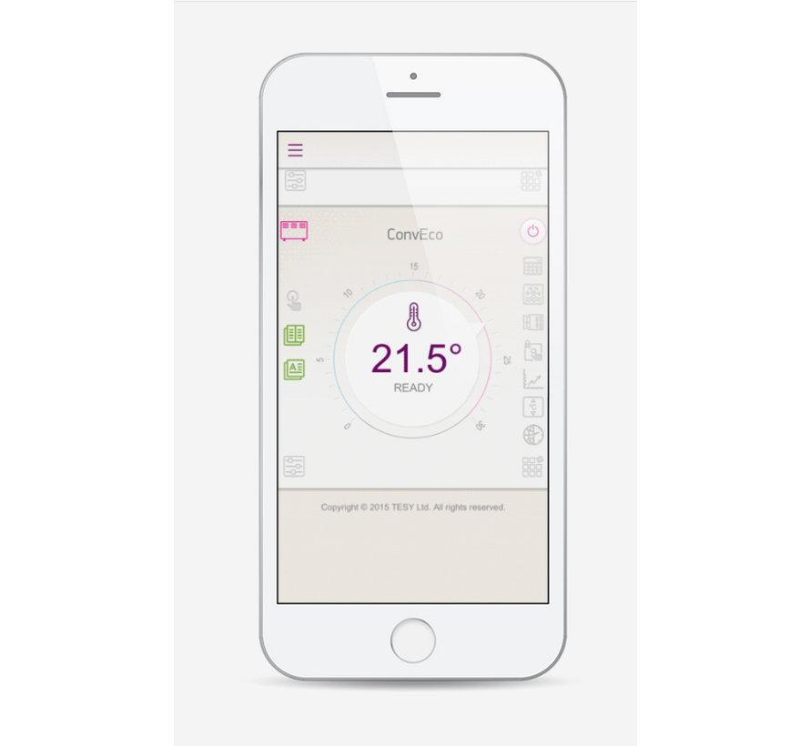2,5 kW elektrische wandconvector met  wifi  en app