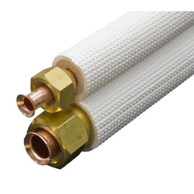 """5 meter lange koelmiddelleiding met 1/4""""-3/8""""  aansluitingen, geschikt voor airco of warmtepomp"""