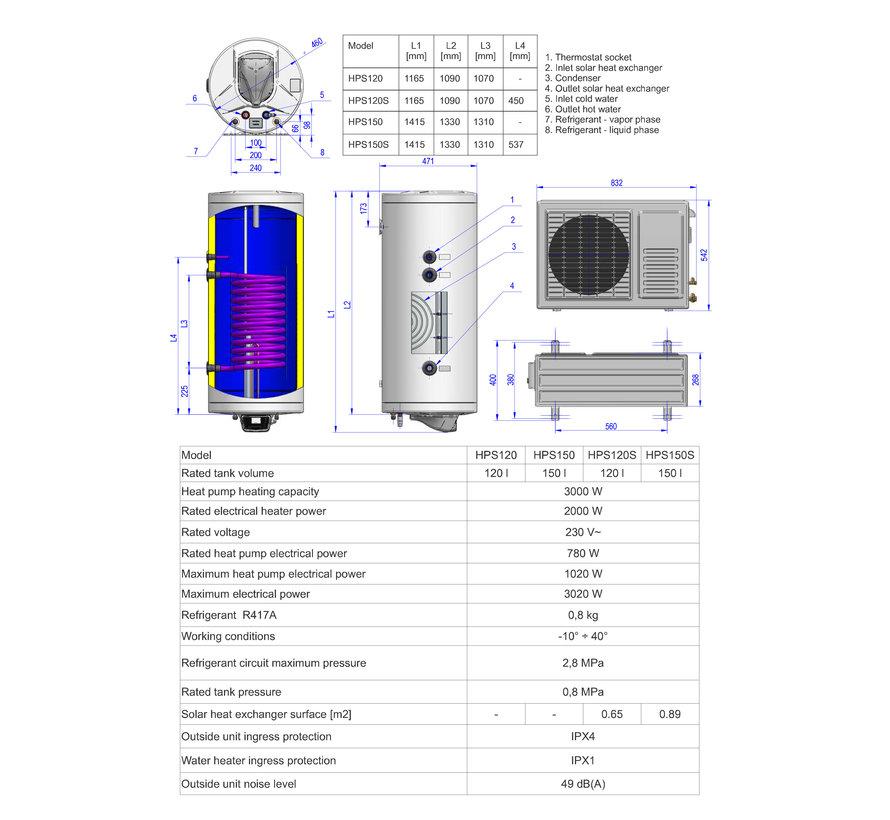 Lucht-water Warmtepompboiler 150 liter, voor tapwater
