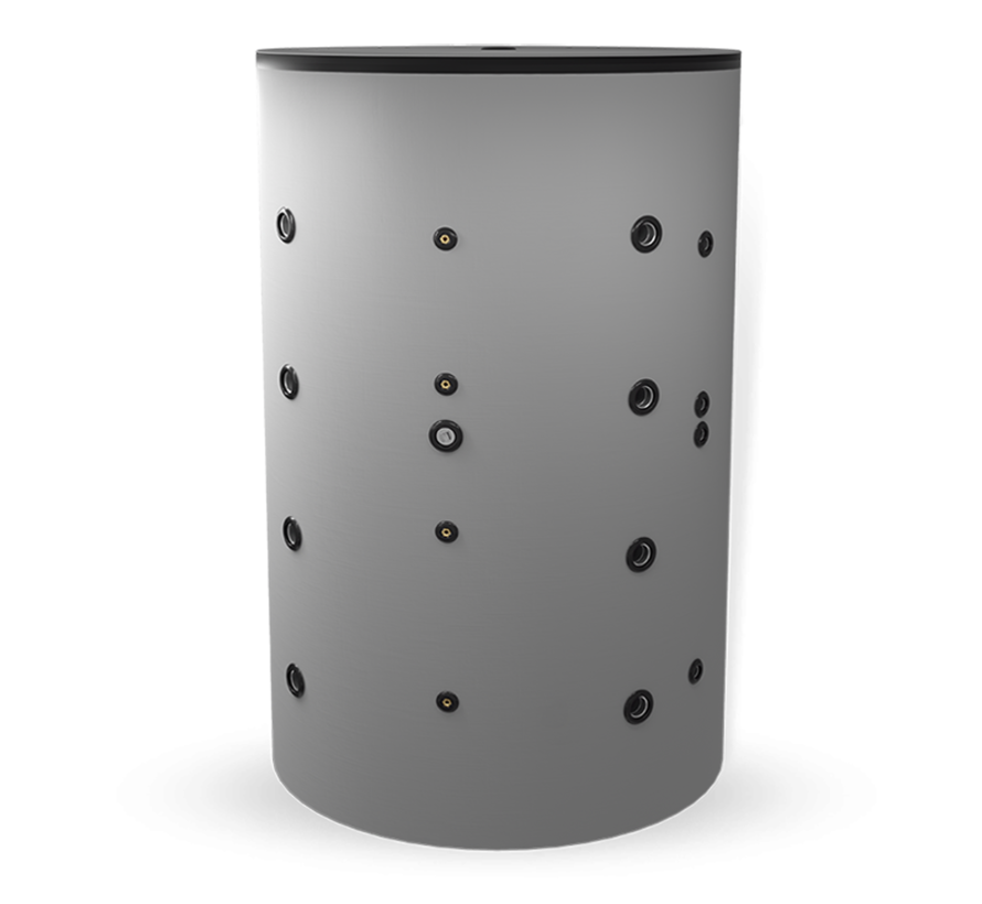 2000 liter buffervat met 2 warmtewisselaars, niet geëmailleerd