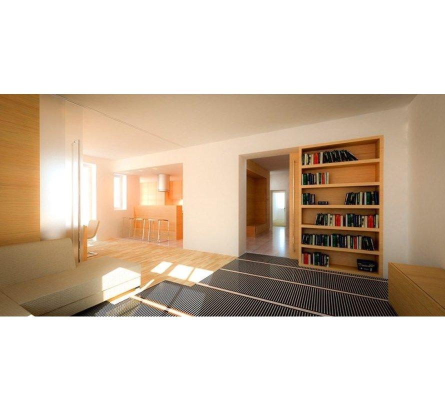 E-vloerverwarming folie set voor PVC en tapijt, inc. touch screen thermostaat