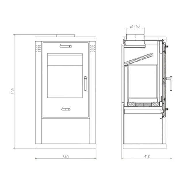 Vision, vrijstaande houtkachel (7,5 kW)