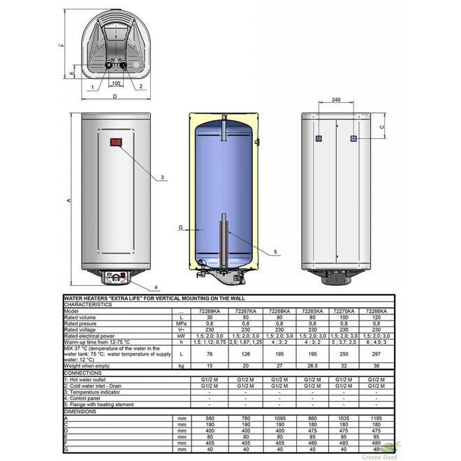 Verticale 80 liter elektrische boiler, Extra Life, slank model, 2kW, emaille