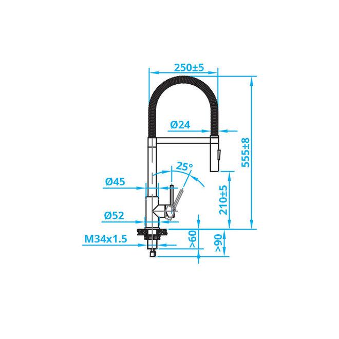 ECO Eénhendel mengkraan met sproeifunctie RVS  (CA103I)