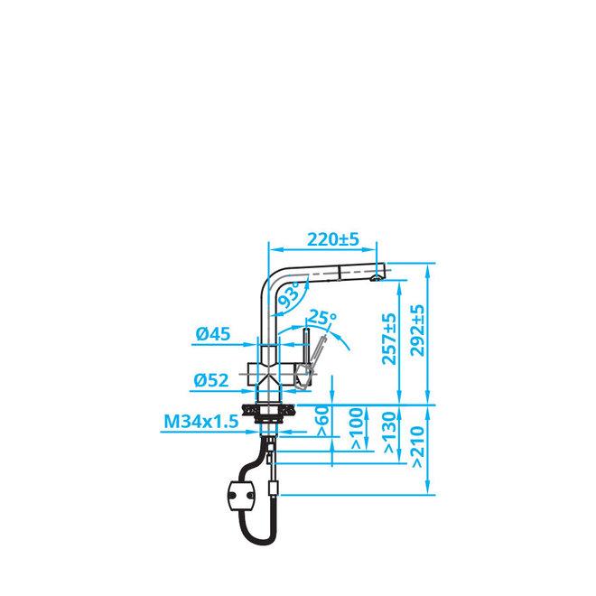 ECO Eénhendel mengkraan met sproeifunctie RVS  (CA108IU)