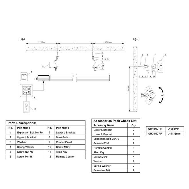 Infrarood terrasheater met instelbaar vermogen 1800 Watt