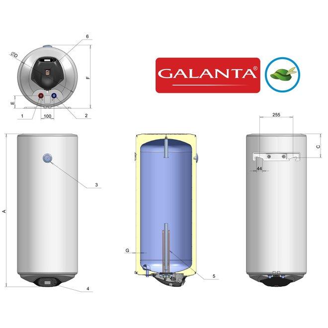 Verticale elektrische boiler 80L, 2kW, met digitale bediening