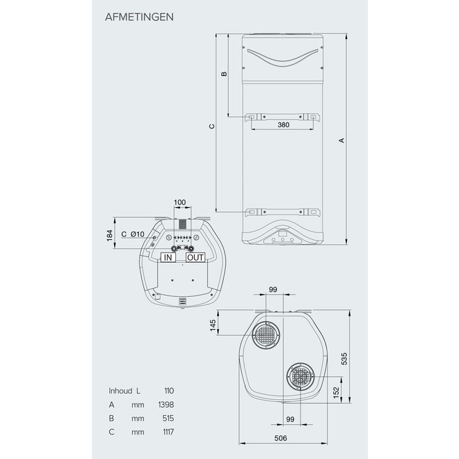 Nuos Evo warmtepompboiler 110 liter  A+