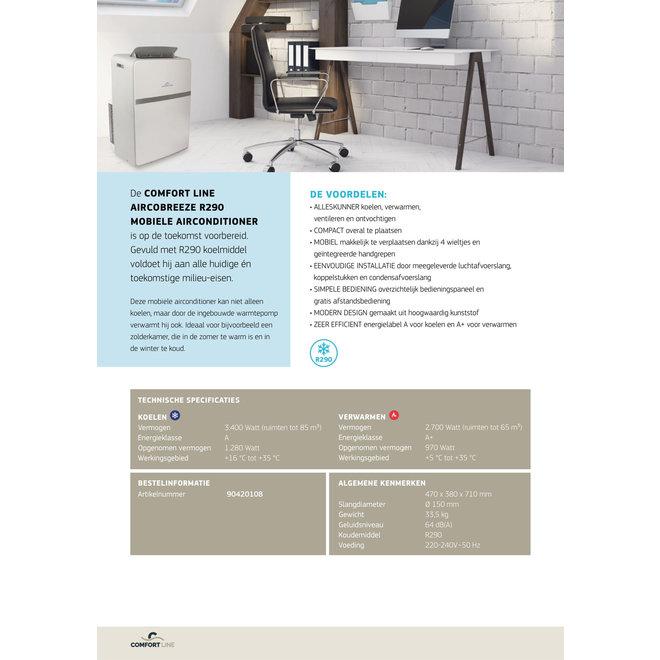 Comfort line Aircobreeze R290 mobiele airco & warmtepomp