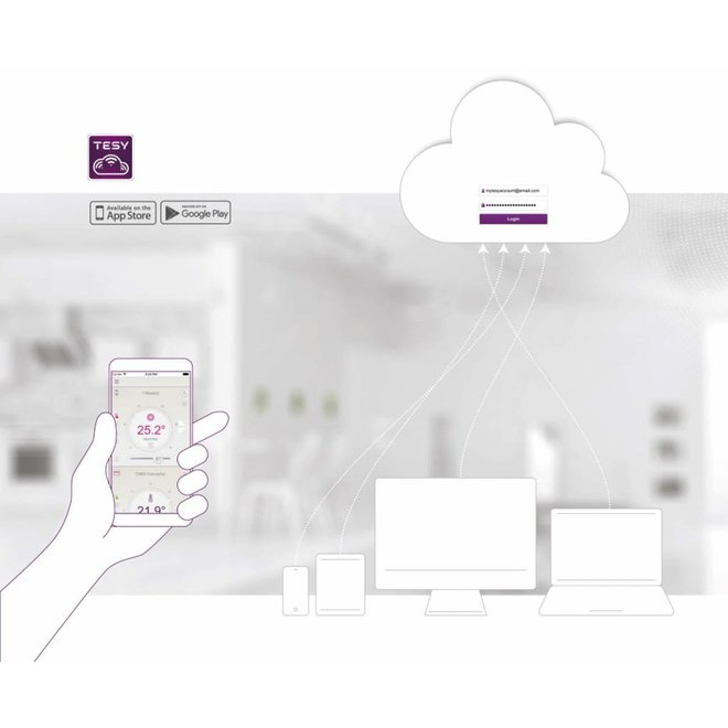 Verticale elektrische smart boiler 100L, Modeco Cloud 2.4kW