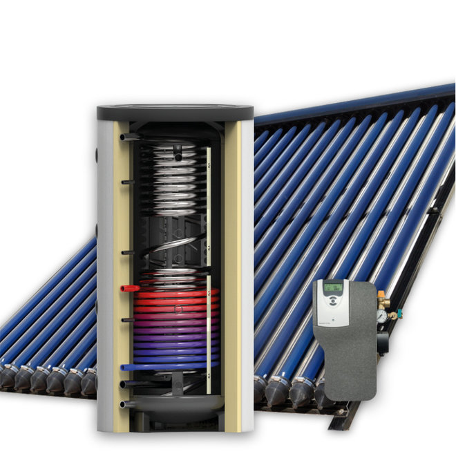 1000L zonneboiler set (120HP) met (vloer)verwarming- en tapwaterondersteuning