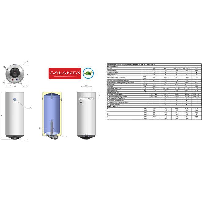 Verticale elektrische boiler 120L, Extra Life, 3kW, met digitale bediening
