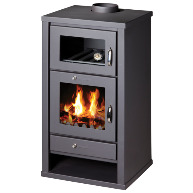 Heat Sirius  vrijstaande houtkachel met oven (11 kW) met rookkanalen set