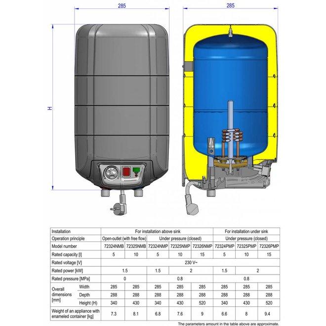 Keukenboiler, 15 liter, 2 kW, voor boven het aanrecht